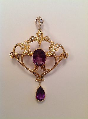 Attractive Fine Art Nouveau 15ct Gold Amethyst & Seed Pearl Set Pendant Brooch