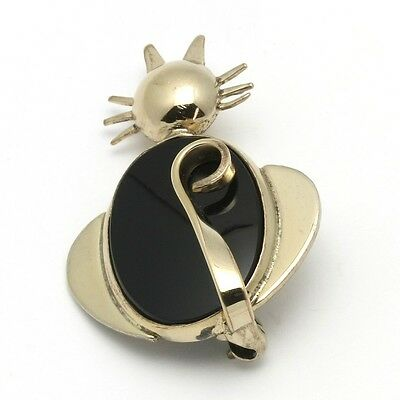 Vintage W.E. Richards Signed WRE Gold-Filled Onyx Cat Figural Small Scatter Pin