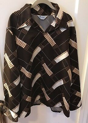 Vtg. 70's Belair Of California Shirt Deco Op Art Disco Polyester Sateen Men XL