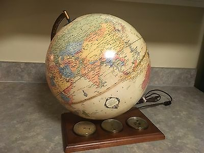 Vintage Cram Lighted Globe with weather instruments on wooden stand