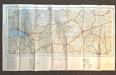 "WWII~26x44"" 1943~ITALY road map~1st EDITION~U.S. ARMY/NAVY~AMS M592~RARE"