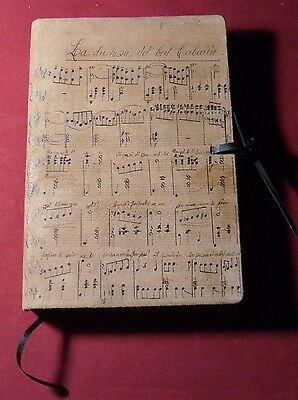 """Leather Journal """"Musical Notes"""" Made In Tuscany Soft Nubuck Lined"""