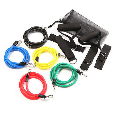 Resistance Bands Workout Exercise Yoga 11 Piece Set Crossfit Yoga ABS Workout