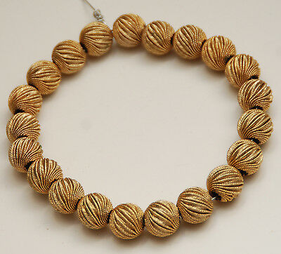 "VINTAGE FLUTED Textured Round Gold-Tone Beads_8"" Strand_10mm"