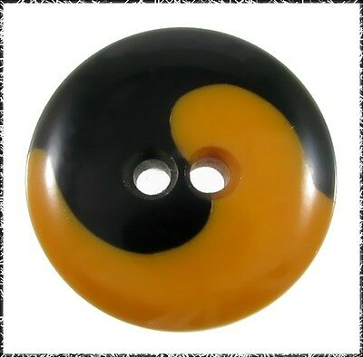 Vintage Bakelite Ying Yang Cookie Button, Black & Butterscotch