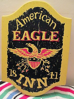 Vintage Americana Wall Hanging Wood Sign American Eagle Inn 1841 Den, Bar, Shop