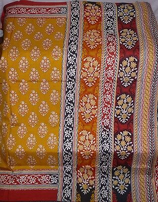 Gorgeous Color Vintage Fabric 5 Yard Pure Silk Sari Saree India