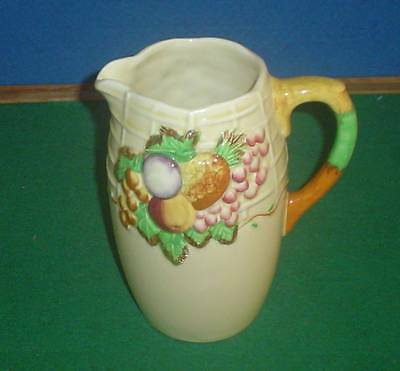 A J WILKINSON CLARICE CLIFF FRUIT BASKET PATTERN LARGE JUG 8ins HIGH