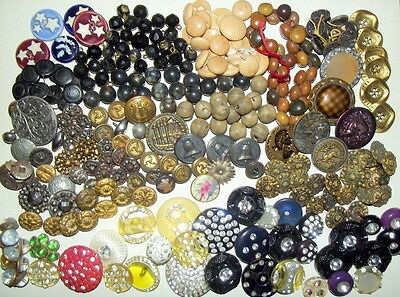 Antique Vintage Lot of 260 Buttons Victorian Edwardian Metal Cut Steels