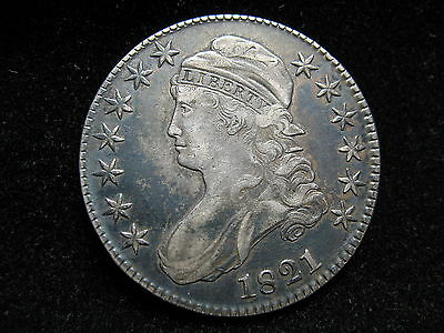 Beautiful 1821 Silver U.s. Bust Half Dollar In Collectible Condition #53Z