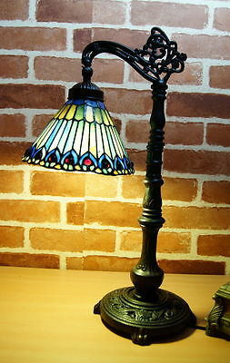 New Arrivals @Peacock Bridge Arm Tiffany Leadlight Stained Glass Desk Lamp