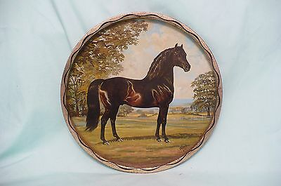 VINTAGE, LARGE 1966 Metal MORGAN Horse Plate Serving Tray by JEANNE MELLIN