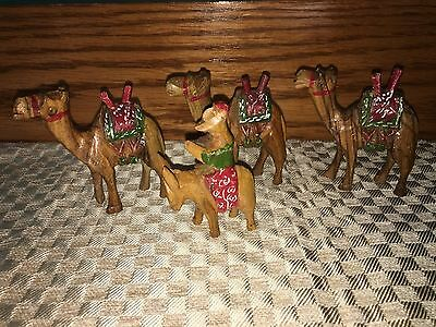 """Vintage antique? wooden hand carved camels donkey nativity CHRISTmas 3"""" tall"""