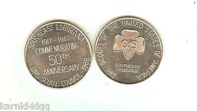 1968 Girl Scouts Of America 50Th Anniversary G.s.a. Coin Token Medallion