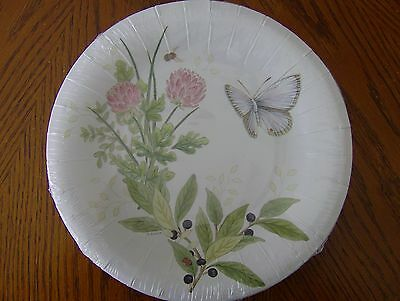 Lenox BUTTERFLY MEADOW PINK Coated Paper Luncheon/Dessert Plates Set of 16 New