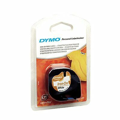 DYMO LT Iron-On Fabric Labels, 1/2-Inch x 6.5-Foot Roll, Black Print on White,