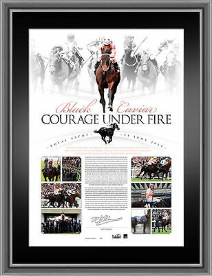 Black Caviar Royal Ascot Signed Framed Courage Under Fire Print Moody Nolen
