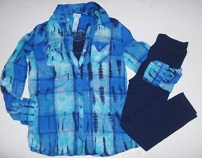 JUSTICE Girls size 10 12 CAMI PLAID SHIRT LEGGINGS OUTFIT EUC