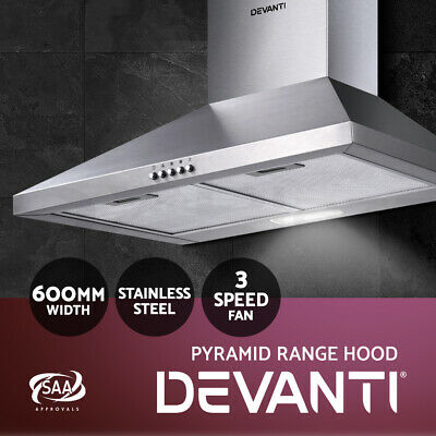 DEVANTi 600mm 60cm Rangehood Stainless Steel Range Hood Home Kitchen Canopy