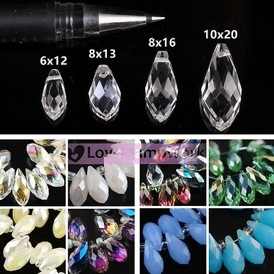 Wholesale 12X6mm Teardrop Faceted Crystal Glass Pendants Beads Hanging Drops DIY