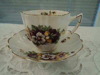 """Antique Vintage Victoria C & E """"PANSY"""" Bone China Tea Cup and Saucer ENGLAND"""