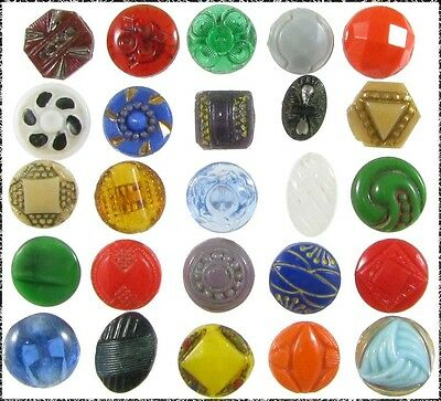 25 Assorted, Mostly Diminutive Size Glass Buttons - b