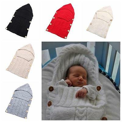Newborn Baby Infant Soft Warm Knit Swaddle Wrap Swaddling Sleeping Blanket Bag