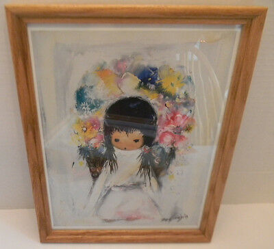 "Ted DeGrazia Framed Print Flower Girl From an Original Oil Painting 2001 9""x12"""