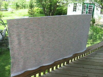 "#411 Vintage hand made rag woven blanket catalogne 73"" x 73.5"" inches"