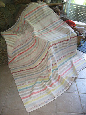 "#420 VINTAGE BLANKET RAG WOVEN CATALOGNE cotton tread cotton material 65""x 77""in"