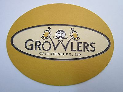 Beer Collectible Coaster ~<>~ GROWLERS Brew Pub ~ Gaithersburg, MARYLAND Brewery