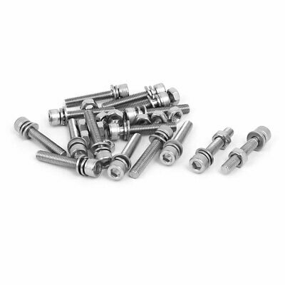 M6 x 35mm 304 Stainless Steel Hex Socket Head Cap Screws Nuts w Washers 15 Sets