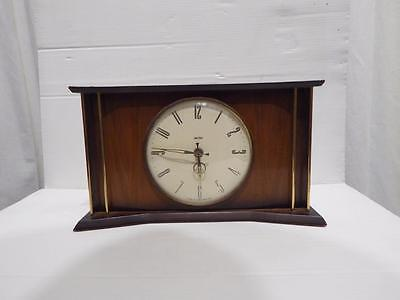 Vintage 60's Smiths  8-day Art Deco Style mantel/table clock set in wooden frame