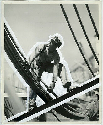 VINTAGE 1938 Classic View of Worker at Grand Coulee Dam HEAVILY PAINTED Photo