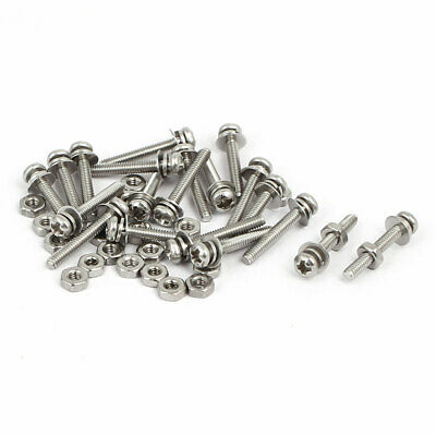 M2 x 14mm 304 Stainless Steel Phillips Pan Head Screws Nuts w Washers 20 Sets