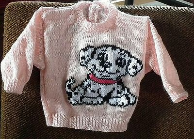 Baby Dalmation Puppy .. Really Cute ..size 1.. New Handknitted Jumper