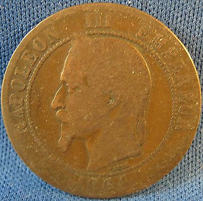 """France 1864 10 Centimes Coin-Napoleon III Empereur-1 3/16"""""""