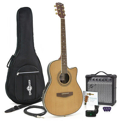 Roundback Electro Acoustic Guitar + 15W Amp Pack Natural