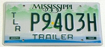 Mississippi  Trailer License Plate- Nice Graphic! Mint!- Miss- Tags