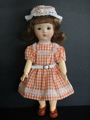 LOULOTTE® porcelain Doll.Brown eyes BLEUETTE story -Made in France by G BRAVOT-