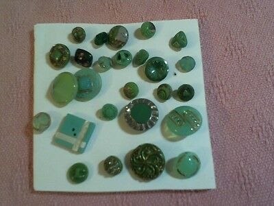 "Lot Of 25 Antique Green Glass Buttons Small 1/4 - 5/8"" Acr. Nice Shapes & Color"