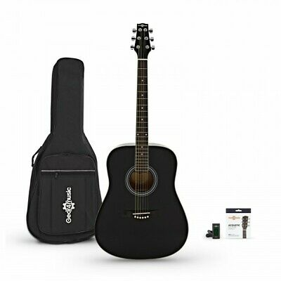 Dreadnought Acoustic Guitar by Gear4music + Accessory Pack Black
