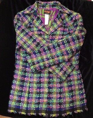 1980s Christian Lacroix Bazar multi coloured wool tweed jacket 16 42 good cond.