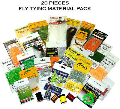Pack of 20 Assorted Fly Tying/Dressing Materials LESS THAN HALF PRICE!! (64903)
