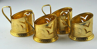 Vintage Russian 4 Tea Cup Holders Gold Color Gorkiy City