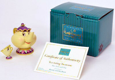 WDCC Beauty and the Beast - Miniature Mrs. Potts and Chip Tea-toting Twosome