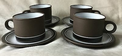 4 X Vintage 1970's Hornsea Contrast Tea Cups & Saucers Very Good Condition