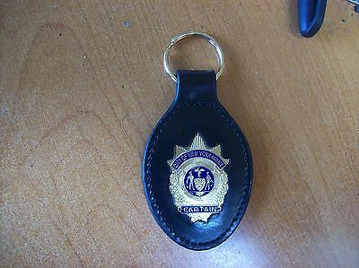 NYC Police Leather Key Ring NYPD Captain Badge Gold Color Novelty Collectors