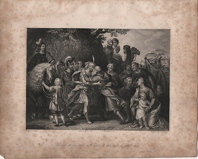 JOSEPH & ISRAEL - ORIGINAL 19th CENTURY RELIGIOUS ANTIQUE ENGRAVING c.1800s