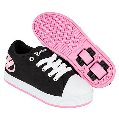 New Heelys Black and Pink X2 Fresh Skate Shoes - Size 3